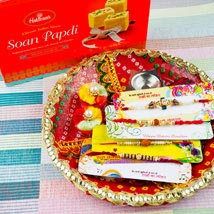 Four Rakhi Set With Soan Papdi and Traditional Thali: Send Rakhi to Australia