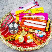 Hamara Parivar Four Rakhi Set with Puja Thali: Send Rakhi Pooja Thali to Australia