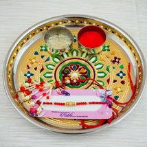 Parivar Two Rakhi Set with Puja Thali: Australia Rakhi Delivery
