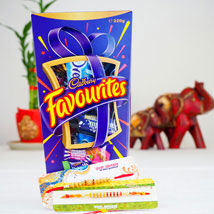Pavitra Rishta Two Rakhi Set with Cadbury Favourite: Send Rakhi to Adelaide