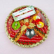 Pyar Bhara Rakhi with Traditional Thali: Send Rakhi Pooja Thali to Australia