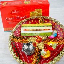 Rakhi with Soan Papdi and Traditional Thali: Australia Rakhi Delivery