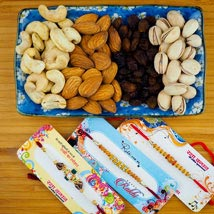 Three Rakhi Set With Dry Fruit: Send Rakhi to Australia