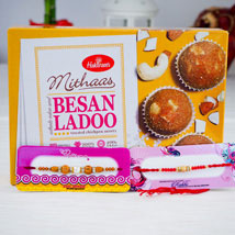 Two Rakhi With Indian Sweet Besan Ladoo: Australia Rakhi Delivery