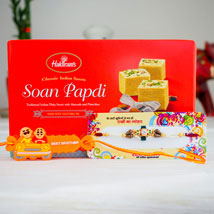 Two Shakti Rakhi Set With Soan Papdi: Australia Rakhi Delivery