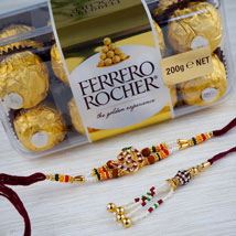 United Two Rakhi set with Farrero Rochar: Australia Rakhi Delivery