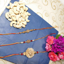 Elegant Rakhi Set of Three With Cashew: Canada Rakhi Delivery