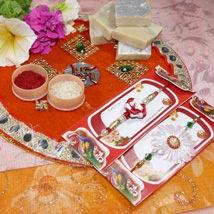 Flower Rakhi Set of Two Thali with Kaju Katli: Send Rakhi to Winnipeg