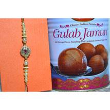 Shining White Rakhi N Gulab Jamun: Send Rakhi to Winnipeg