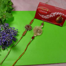 Traditional Rakhis Set of Two with Lindt Lindor: Canada Rakhi Delivery