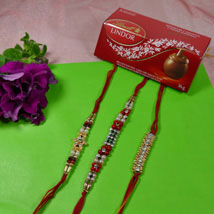 Trendy Rakhi Set Of Three With Lindt Lindor: Send Rakhi to Vancouver