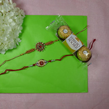 Trendy Rakhi Set Of Two With Ferrero Rocher: Send Rakhi to Vancouver