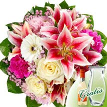 Flower Bouquet Traumerei with vase and Secco: Send Lilies to Germany