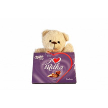Sweet Milka Hearts with A Teddy: Gifts to Greece