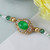 Green Emerald Stone Rakhi GL: Send Rakhi to Greenland