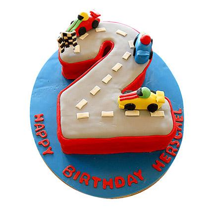 Car Race Birthday Cake 3kg Eggless Black Forest