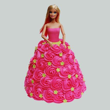 Pink Barbie Cake Butterscotch 2kg Eggless