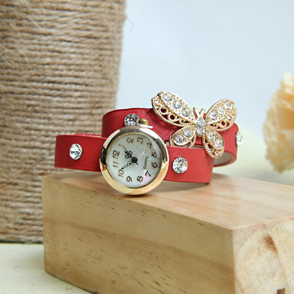 Red Braided Women Watch