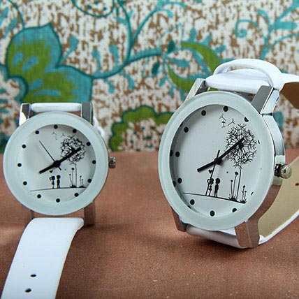 White Couple Watch Set
