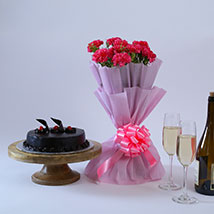 Chocolate Cake N Flowers: Cake with Bouquet