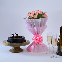 Pink Roses with Cake: Flowers & Cake Combos