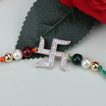 Swastik Beauty American Diamond Rakhi POR: Send Rakhi to Portugal