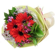 Red Gerbera Bouquet: Send Christmas Flowers to Singapore