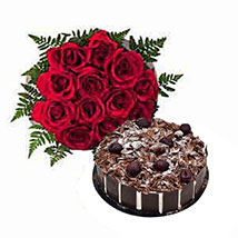 1 Dozen Roses with Cake: Send Flowers for Wife to UAE