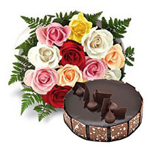 12 Multicolored Roses with Cake: Flowers for Wife to UAE