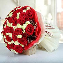 Bunch Of Red N White Roses: