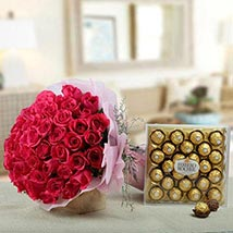 Flowers N Chocolates Combo: Send Flower Bouquets to UAE