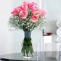 Glorious 12 Pink Roses: Rose Day Gifts