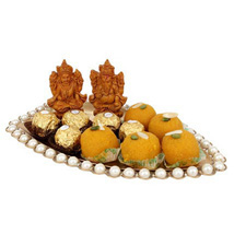 Pearl boat basket with sweets: Send Diwali Sweets to UAE