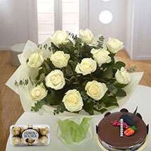 Pure Love Combo: Birthday Flowers and Cakes in UAE