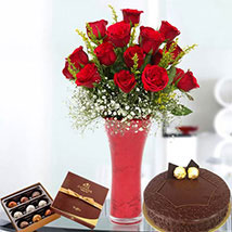 Warm Wishes Combo: Birthday Flowers and Cakes to UAE