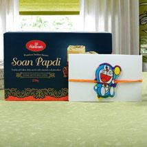 Kids Rakhi Doraemon with Sweet: Rakhi to Leeds