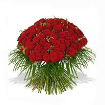 One Hundred Red Roses Bouquet: Anniversary Flowers to UK