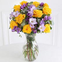 Rose n Freesia Bouquet: Send Flowers to Leicester