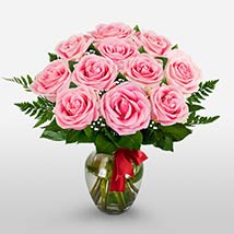 12 Long Stem Pink Roses: Send Valentine Day Gifts to Boston
