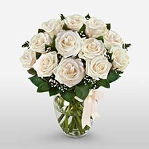 12 Long Stem White Roses: Valentine Day Gifts Houston