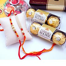 12 PCS Ferrero Rocher with 2 Rakhis: Rakhi & Chocolates USA