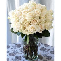 25 Long Stem White Roses: Send Anniversary Bouquets to USA