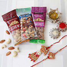 Bhaiya Bhaiya Rakhi with Dry Fruits: Rakhi to Raleigh