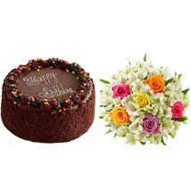 Chocolate Cake with Assorted Rose and Lily Bouquet: Send Cakes to San Jose