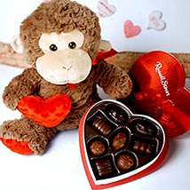 Chocolate Heart N Soft Toy: Send Anniversary Gifts to USA