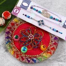 Designer Beads Rakhi Set With Puja Thali: Send Rakhi Pooja Thali to USA