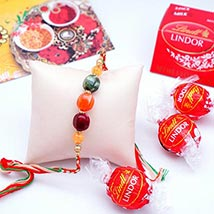 Designer Rakhi with Lindt Milk Truffles Pack: Send Rakhi to USA