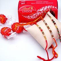 Elegant Rakhi Set with Lindor Milk Truffles Pack: Rakhi & Chocolates USA