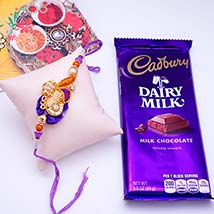 Fancy Rakhi with Lindt Milk Truffle Bar: Send Rakhi & Chocolates to USA