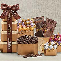 Godiva Milk and Dark Chocolate Tower: Send New Year Gifts to USA